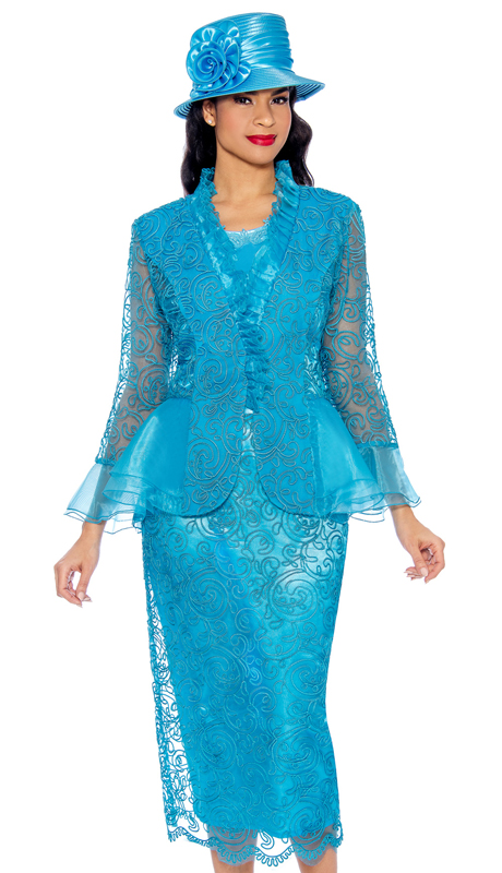 Giovanna 0929-TU ( 3pc Silk Look With Lace Womens Church Suit With Organza Trim )
