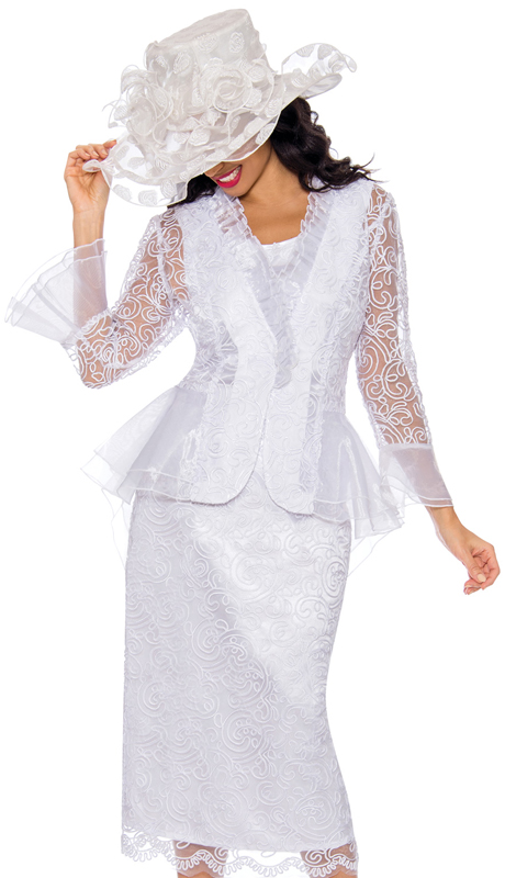 Giovanna 0929-WH ( 3pc Silk Look With Lace Womens Church Suit With Organza Trim )
