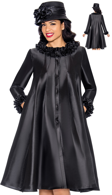 Giovanna D1493-BK ( 1pc Silk Look Dress For Church With Ruffled Neckline And Cuffs )