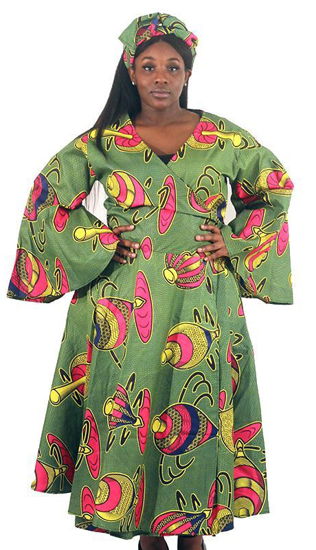 Heritage C-WH685-AS ( Spinning Top Print Wrap Dress With Head Wrap )