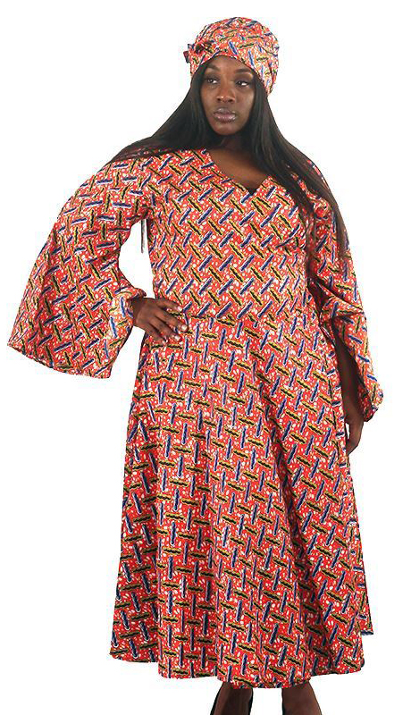 Heritage C-WH684-AS ( African Print Wrap Dress With Head Wrap )