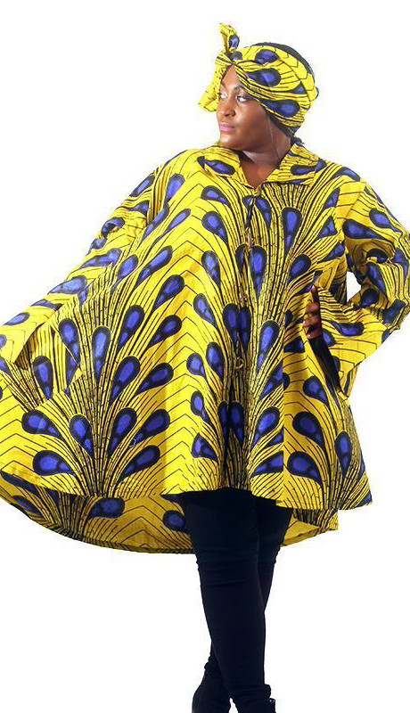Heritage C-WH682-AS ( Yellow Peacock Print Smock With Head Scarf )