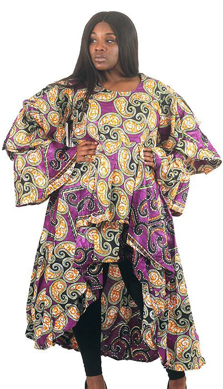 Heritage C-WH680-PP ( Purple African Print Hi-Lo Dress )