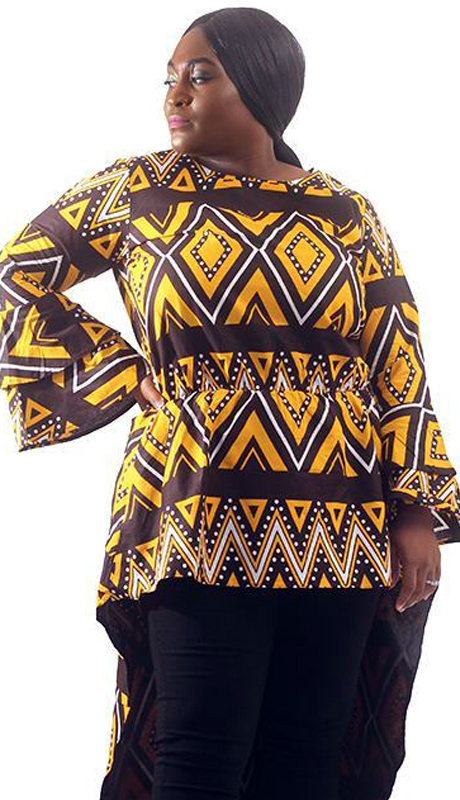 Heritage C-WH677-AS ( African Mud Print Zipper Back Hi-Lo Top )