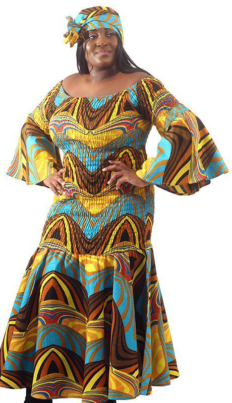 Heritage CWH674-AS ( African Print Princess Dress With Head Scarf )