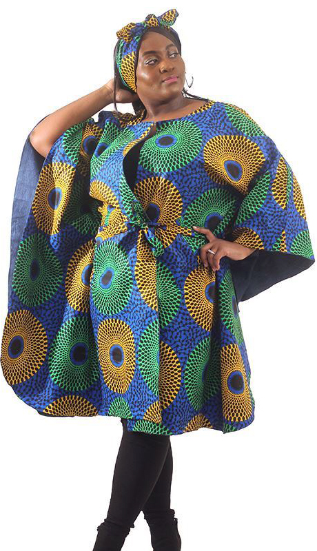 Heritage C-WH672-AS ( Denim Circle Print Poncho With Head Wrap )