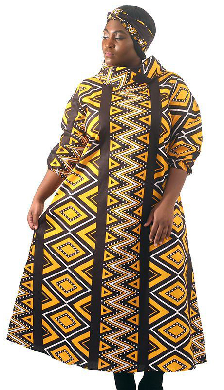 Heritage C-WH671-AS ( African Mud Print Collar Dress With Head Wrap )
