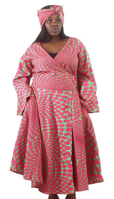 Heritage C-WH689-PG ( Pink Green Polka-Dot Print Wrap Dress With Head Wrap )