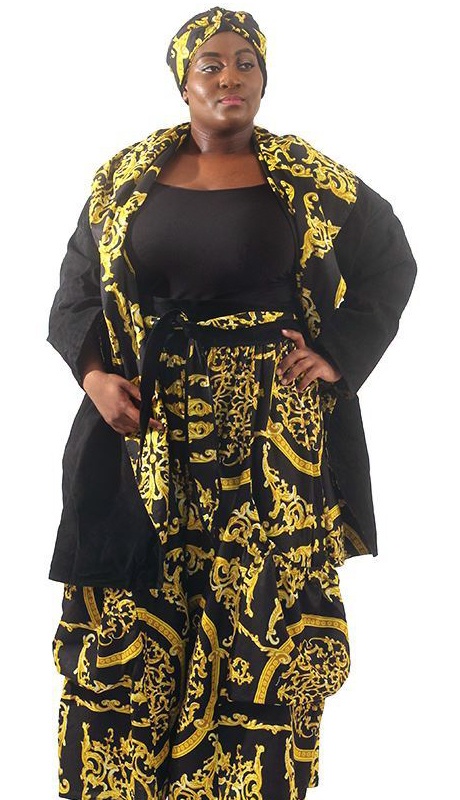 Heritage C-WH670-BG ( Reversible Suede Jacket And Palazzo Pants With Matching Head Wrap )