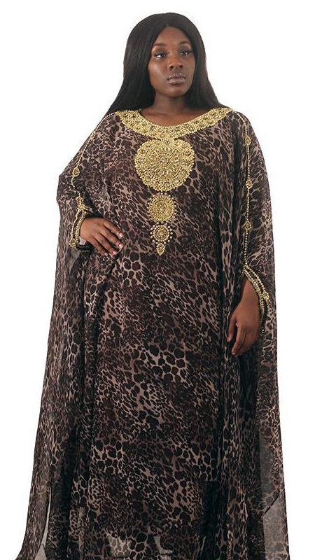 Heritage C-WH692-BN ( Royal Goddess Leopard Print Gown )
