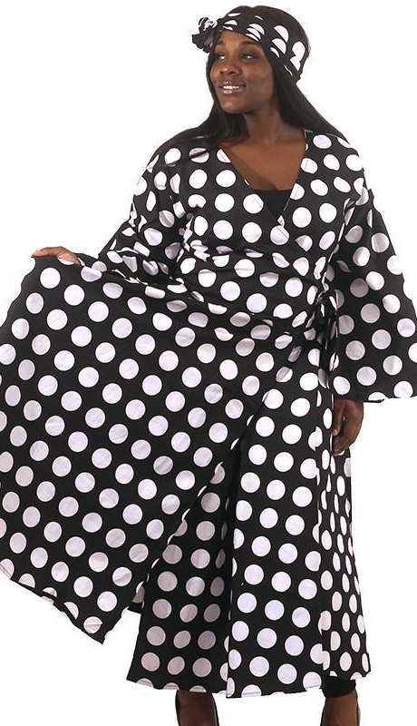Heritage C-WH687-BW ( Black And White Polka Dot Print Wrap Dress With Head Wrap )