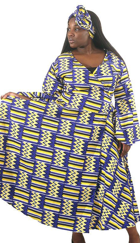 Heritage C-WH688-BY ( African Print Wrap Dress With Head Wrap )