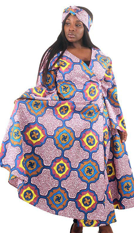 Heritage C-WH686-AS ( African Print Wrap Dress With Head Wrap )