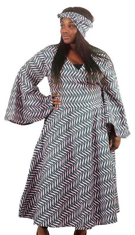 Heritage C-WH690-PG ( African Print Wrap Dress With Head Wrap )
