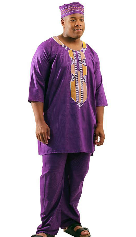Heritage C-M127-PG ( 2pc Mens Regal Pant Set With Kufi Hat )