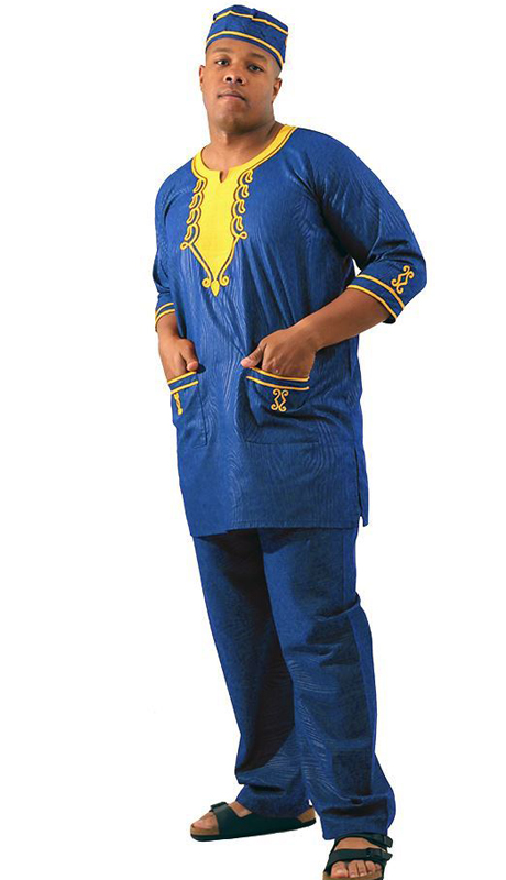 Heritage C-M128-BL ( 2pc Mens Embroidered Travelers Pant Set With Kufi Hat )