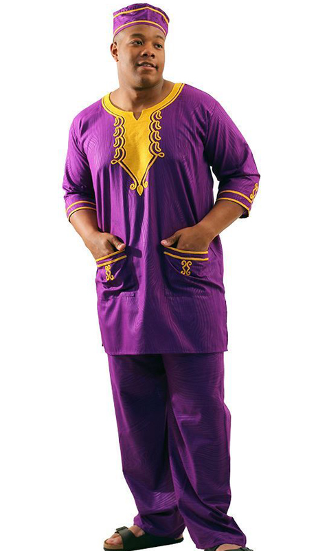 Heritage C-M128-PG ( 2pc Mens Embroidered Travelers Pant Set With Kufi Hat )