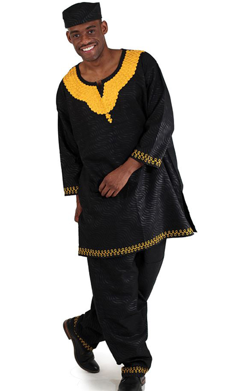 Heritage C-M096-BG ( 2pc Mens Classic Pant Set With Kufi Hat )