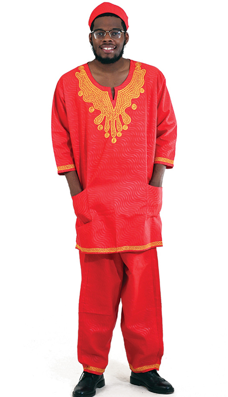 Heritage C-M096-RG ( 2pc Mens Classic Pant Set With Kufi Hat )