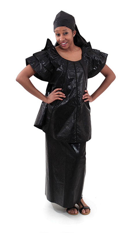 Heritage C-W519-BK ( 2pc Brocade Pleated Skirt Set With Head Wrap )