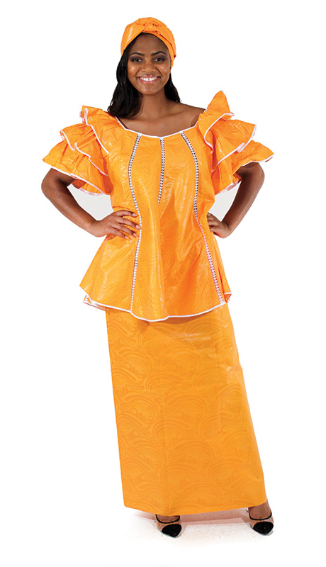 Heritage C-W512-OR ( 2pc Brocade Pleated Skirt Set With Head Wrap )