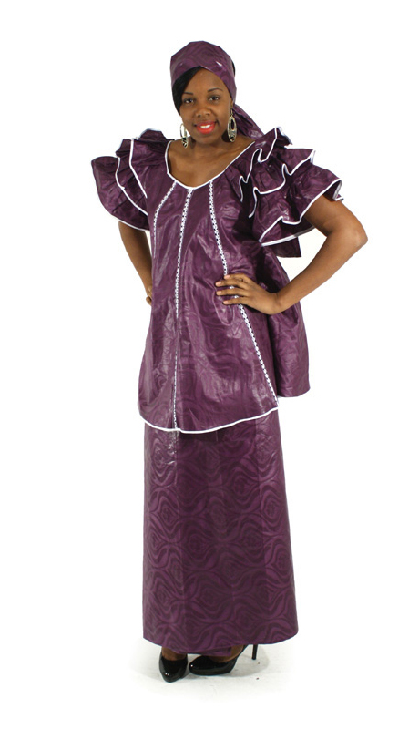 Heritage C-W508-PL ( 2pc Brocade Pleated Skirt Set With Head Wrap )