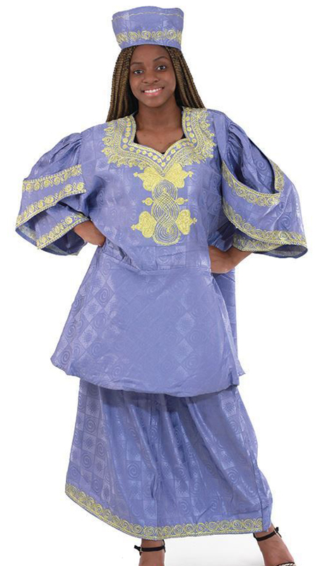 Heritage C-WF730-BG ( 3pc Renowned Royal Sleeve Skirt Set With Matching Cap )