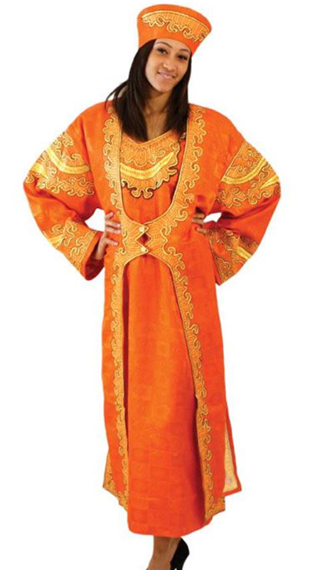 Heritage C-WF399-OG ( 2pc Diva Queen Dress Jacket Set With Matching Head Wrap )