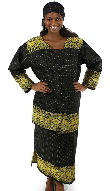 Heritage C-W950-BG ( 2pc Skirt Set With Matching Head Wrap )