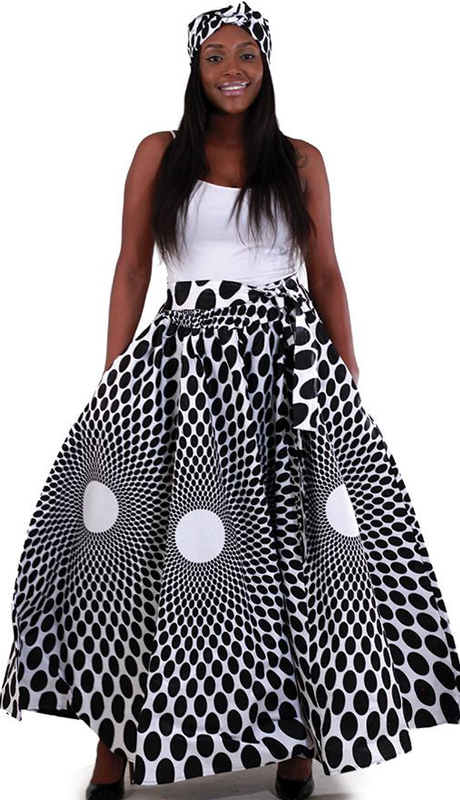 Heritage C-WH162-BW ( 1pc Polka Dot Maxi Skirt With Bow Tie Waist And Matcking Head Wrap )