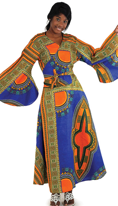 Heritage C-WF938-BP ( 1pc Traditional Print Wrap Dress )