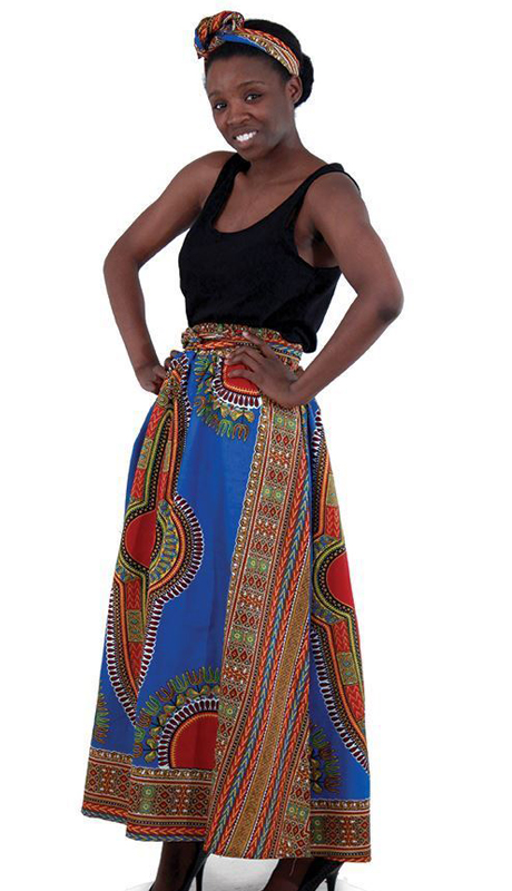 Heritage C-WF907-BP ( 1pc Traditional Print Panel Skirt With Matching Head Wrap )