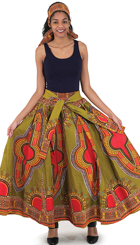 Heritage C-WF906-Orange With Print ( 1pc Traditional Print Maxi Skirt With Matching Head Wrap )