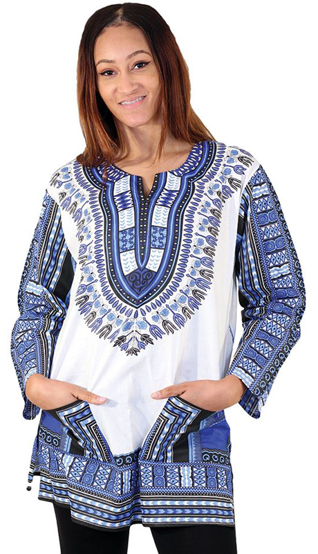 Heritage C-U940-BW ( 1pc Traditional Print Long Sleeve Dashiki )