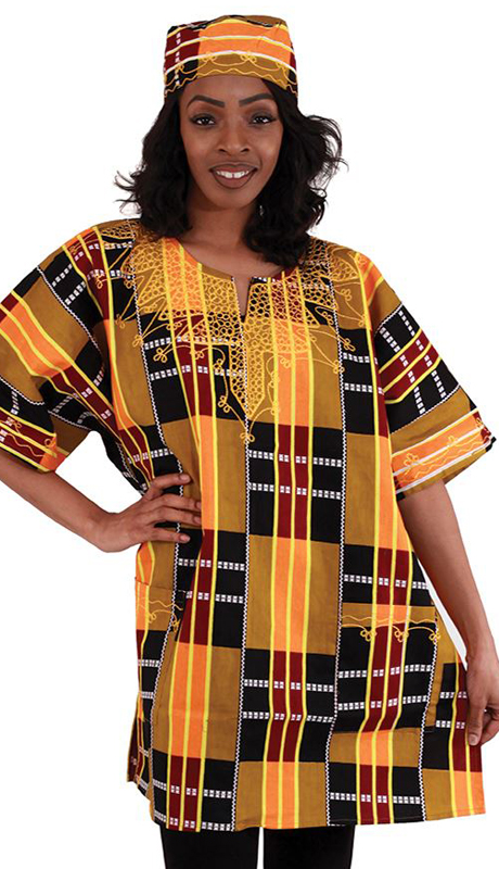 Heritage C-U920-OP ( 1pc Kente Dashiki Style 3 With Matching Cap )