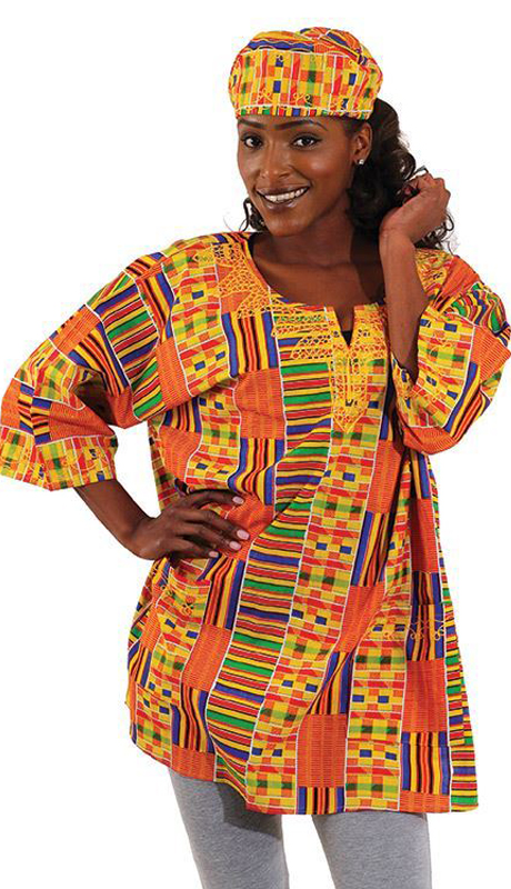 Heritage C-U920-MP ( 1pc Kente Dashiki Style 1 With Matching Cap )