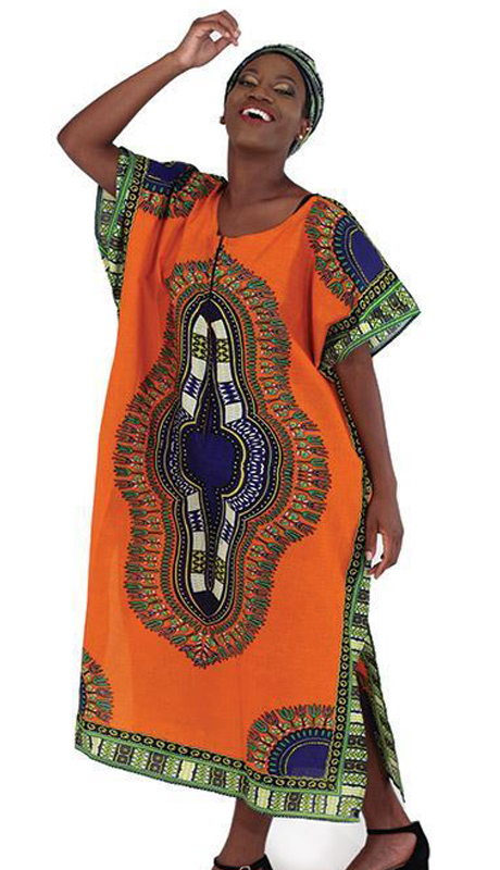 Heritage C-WH1098-OP ( 1pc Traditional Print Zipper Kaftan With Head Wrap )