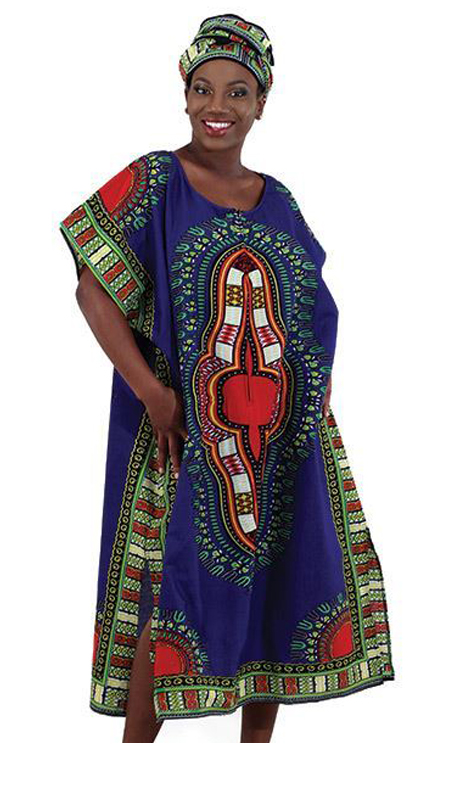 Heritage C-WH019 ( 1pc Traditional Print Zipper Kaftan With Head Wrap )