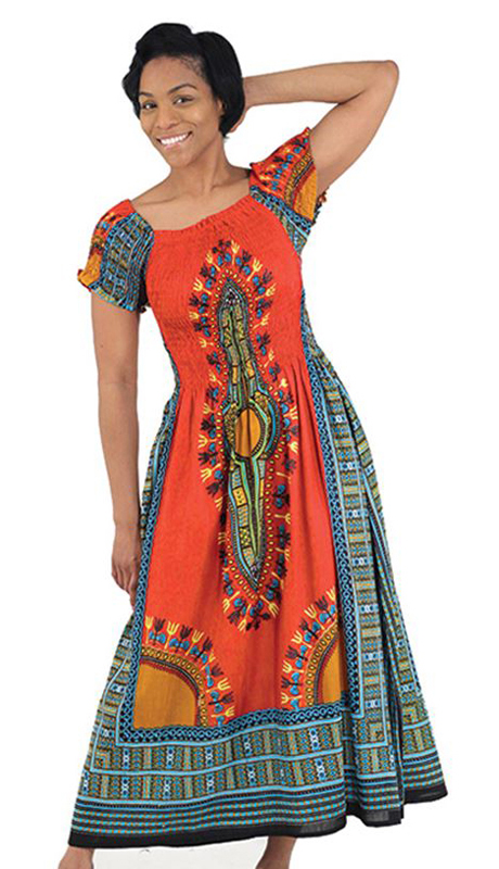 Heritage C-WF908-O ( 1pc Women's Traditional Print Dress With Fitted Stretch Bodice )