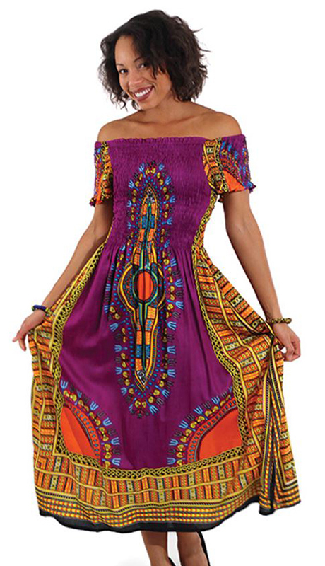 Heritage C-WF908-P ( 1pc Women's Traditional Print Dress With Fitted Stretch Bodice )