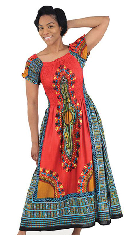 Heritage C-WF908-R ( 1pc Women's Traditional Print Dress With Fitted Stretch Bodice )