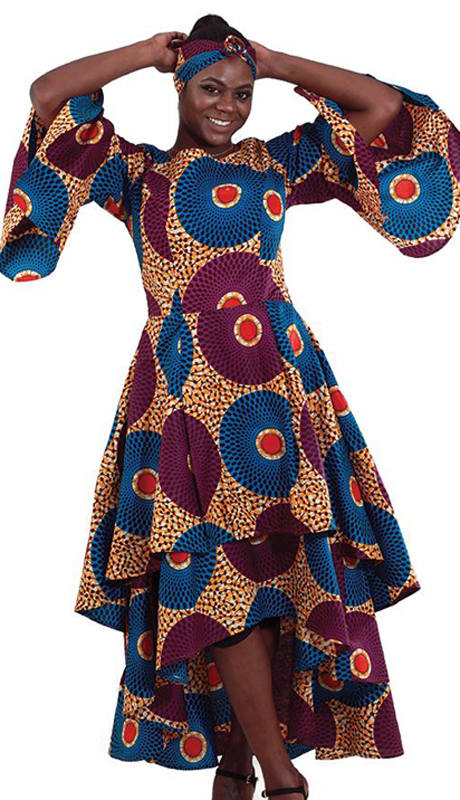 Heritage C-WH235 ( 1pc Women's African Print Geometic Multi-Tiered Dress )