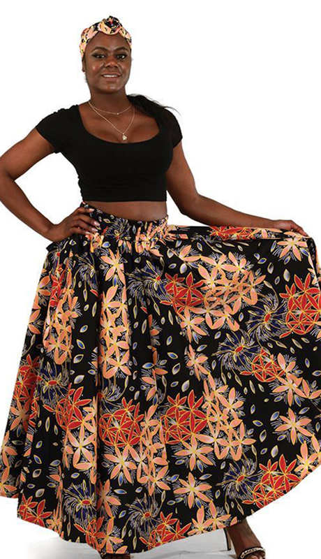 Heritage C-WH237 ( 1pc Ladies Black Flower Print Long Skirt With Two Pockets And A Matching Headscarf )
