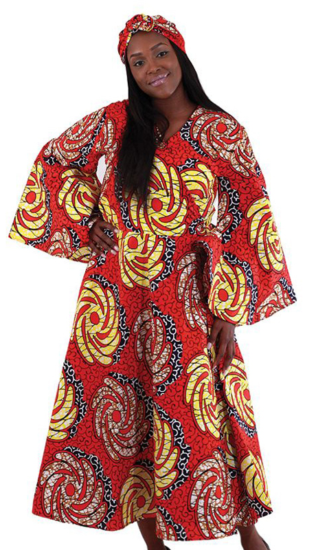 Heritage C-WH170-R ( 1pc Women's African Print Wrap Dress In Traditional Floral Batik Pattern With Two Tie Straps )