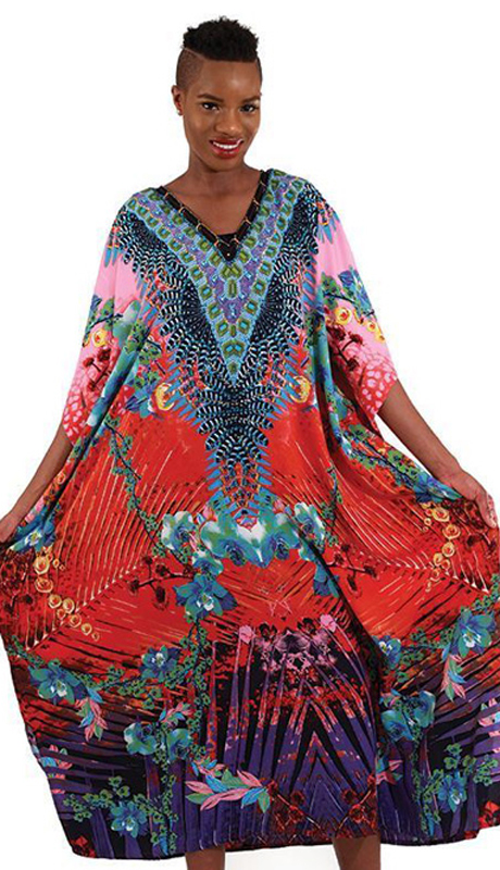Heritage C-WH253 ( 1pc Women's Pink Tropical Kaftan )