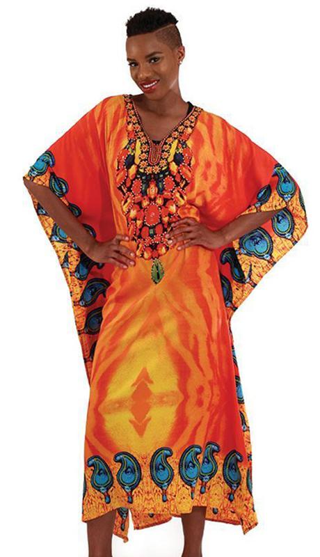 Heritage C-WH254 ( 1pc Women's Orange Flame Kaftan )