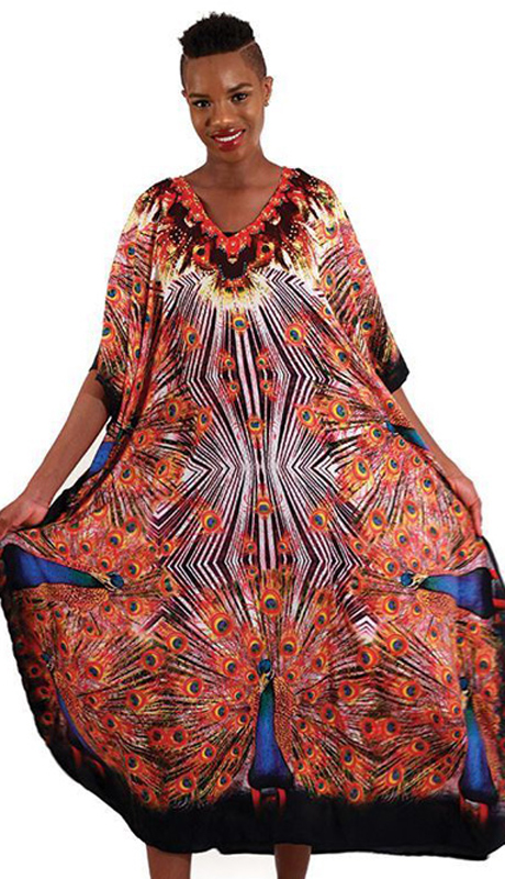 Heritage C-WH255 ( 1pc Women's Orange Flame Kaftan )