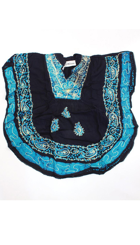 Heritage WH257-BL ( 1pc Womens Batik Flower Poncho-Dashiki, Sleeveless With Ruffled Shoulders )