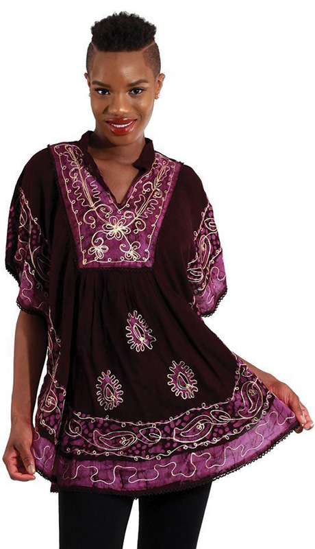 Heritage WH257-BP ( 1pc Womens Batik Flower Poncho-Dashiki, Sleeveless With Ruffled Shoulders )