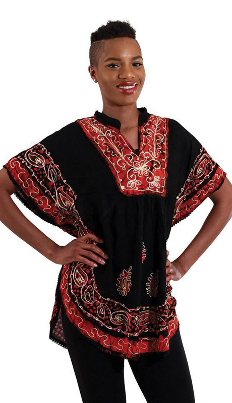 Heritage WH257-BR ( 1pc Womens Batik Flower Poncho-Dashiki, Sleeveless With Ruffled Shoulders )